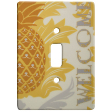 Welcome Pineapple Ceramic Single Switch Wall Plate