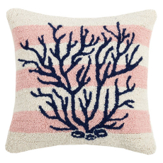 Pink Stripe Coral Hook Pillow