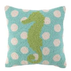 Seahorse on Polka Dot Pattern Pillow