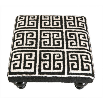 Greek Key Footstool -Black and White