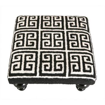 Greek Key Footstool -Black And White