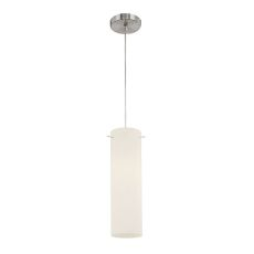 Tubo 1 Light Pendant In Chrome And White Opal Glass