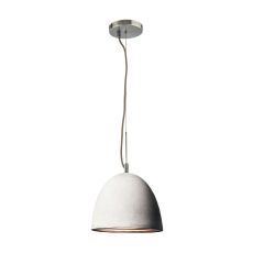 Castle 1 Light Pendant In Poured Concrete With Chrome Reflector - Small