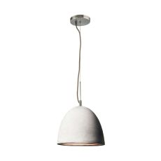 Castle 1 Light Pendant In Poured Concrete With Chrome Reflector - Medium