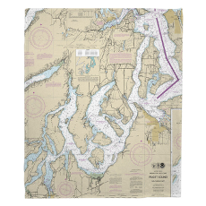Wa: Puget Sound Southern, Wa Nautical Chart Fleece Throw Blanket