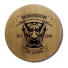 Tiki Lounge Barrel Head Sign Personalized