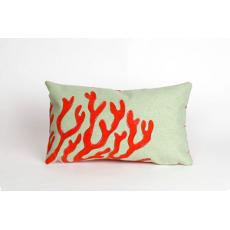 Coral Red Oblong Indoor Outdoor Pillow