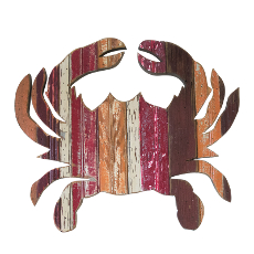 Crab Wooden Plaque, Waves of Red