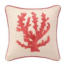 Red Coral Branch Embroidered Pillow