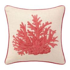 Red Coral Embroidered Pillow