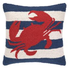 Red Crab On Blue Stripe Hook Pillow