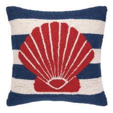 Red Seashell On Blue Stripe Hook Pillow