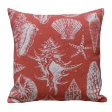 Seashell Red Linen Pillow