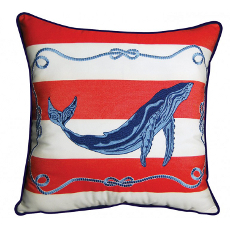 Red Stripe Whale Indoor Outdoor Pillow