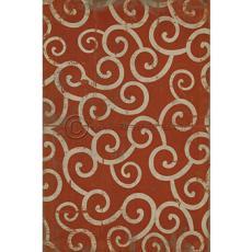 Red Swirl Pattern Vinyl Floor Cloth