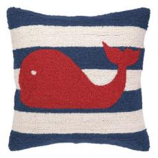 Red Whale On Blue Stripe Hook Pillow