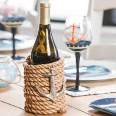 Polystone Nautical Rope Wine Bottle Holder
