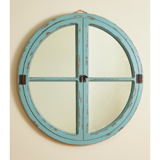 Distressed Wood Window Mirror