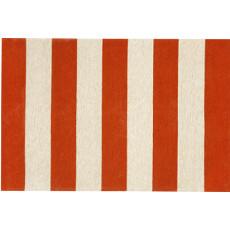 Rugby Stripe Red Indoor Outdoor Rug