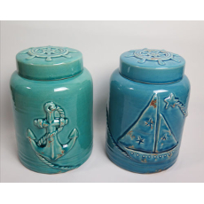 Sailboat And Anchor Covered Jars