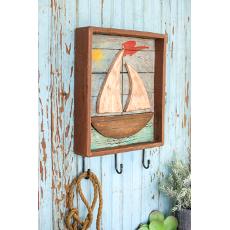 Painted Wooden Sailboat Shadow Box Coat Rack