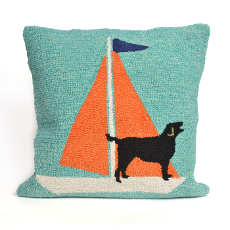 Sailing Dog Orange Indoor Outdoor Pillow