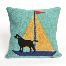 Sailing Dog Yellow Indoor Outdoor Pillow