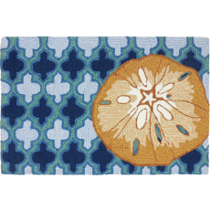 Sand Dollar on Blue Tile Accent Rug