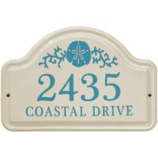 Sand Dollar Ceramic Arched Address Plaque