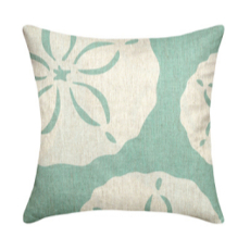 Sand Dollar Aqua Linen Pillow