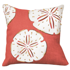 Sand Dollar Beaded Applique Pillow- Coral