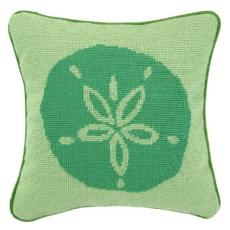 Sand Dollar Green Needlepoint Pillow