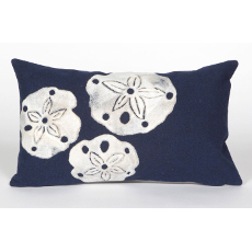 Sand Dollar Navy Indoor Outdoor Oblong Pillow