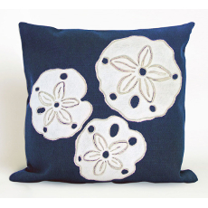 Sand Dollar Navy Indoor Outdoor Pillow