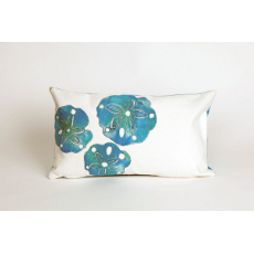 Blue Sand Dollars Oblong Indoor Outdoor Pillow