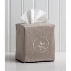Sand Dollar Tissue Box Natural Linen Cover