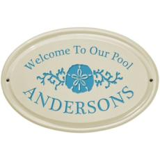 Sand Dollar Ceramic Oval Welcome to our Pool Plaque