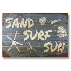 Sand Surf Sun Wood Art