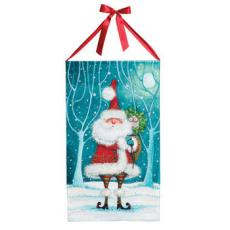 Santa and Owl Canvas Banner