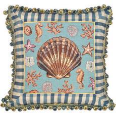 Scallop Shell Needlepoint Pillow