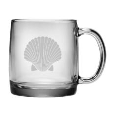 Scallop Shell Etched Coffee Mug Glass Set