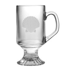 Scallop Shell Etched Footed Mug Glass Set