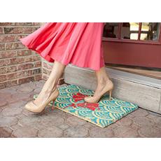 Scalloped Floral Coconut Fiber Doormat