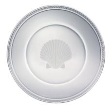 """Scallop Shell Etched Glass 13"""" Plate"""