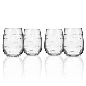 School Of Fish Stemless (Set Of 4)