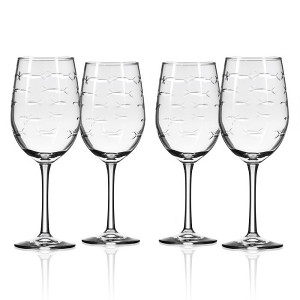 School of Fish White Wine 12oz Goblets (Set of 4)
