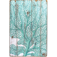 Sea Fan Teal Zoom Floorboard Wall Art