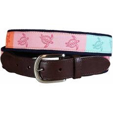 Sea Turtle Leather Tab Belt