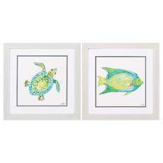Sea Life Framed Art Set of 2