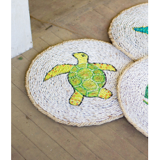 Round Sea Turtle Rush Grass Mat